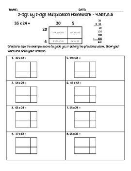 2-digit by 2-digit multiplication homework - area model | Teaching ...