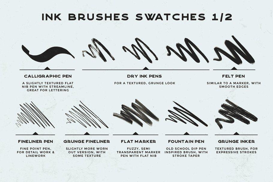 Procreate Inking brushes set of 20 brushesInking