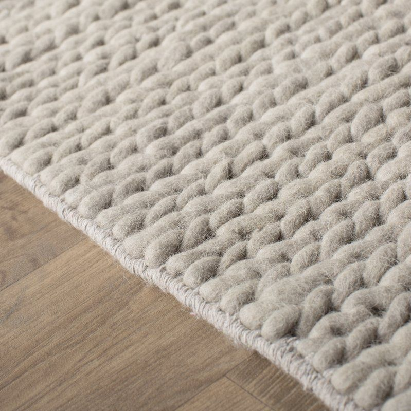 Arviso Hand Braided Wool Off White Area Rug Living Space