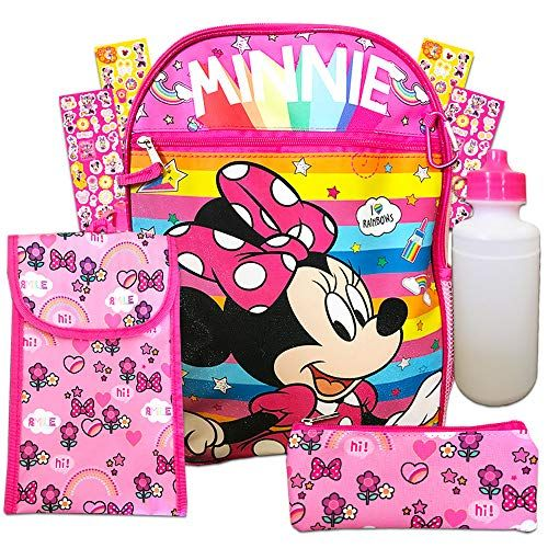 Disney Minnie Mouse 6 Pc Backpack School Set ~ Deluxe 16 Inch Backpack, Lunch Bag, Water Bottle, and More (Minnie Mouse School Supplies)