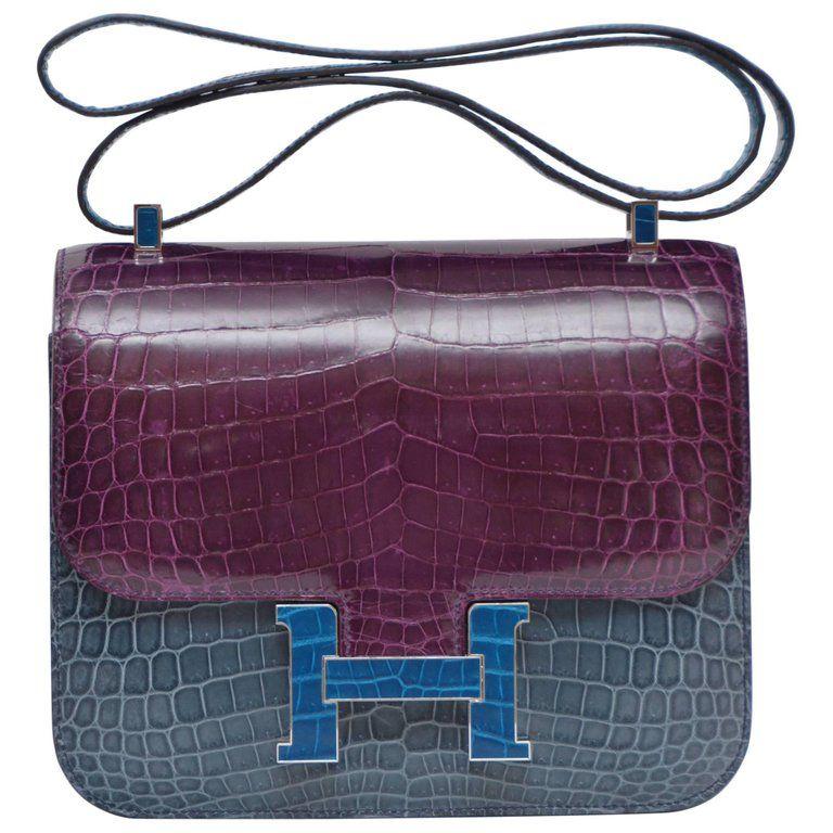 dd25b4719c9c Hermes Constance Limited Edition Bleu Tempete Bleu Izmir Niloticus Handbag
