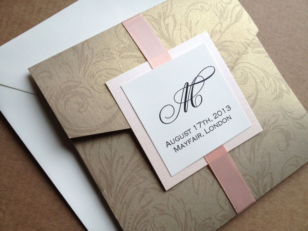 Gold Damask Pocket Wedding Invitation - Square, Floral, Elegant and ...