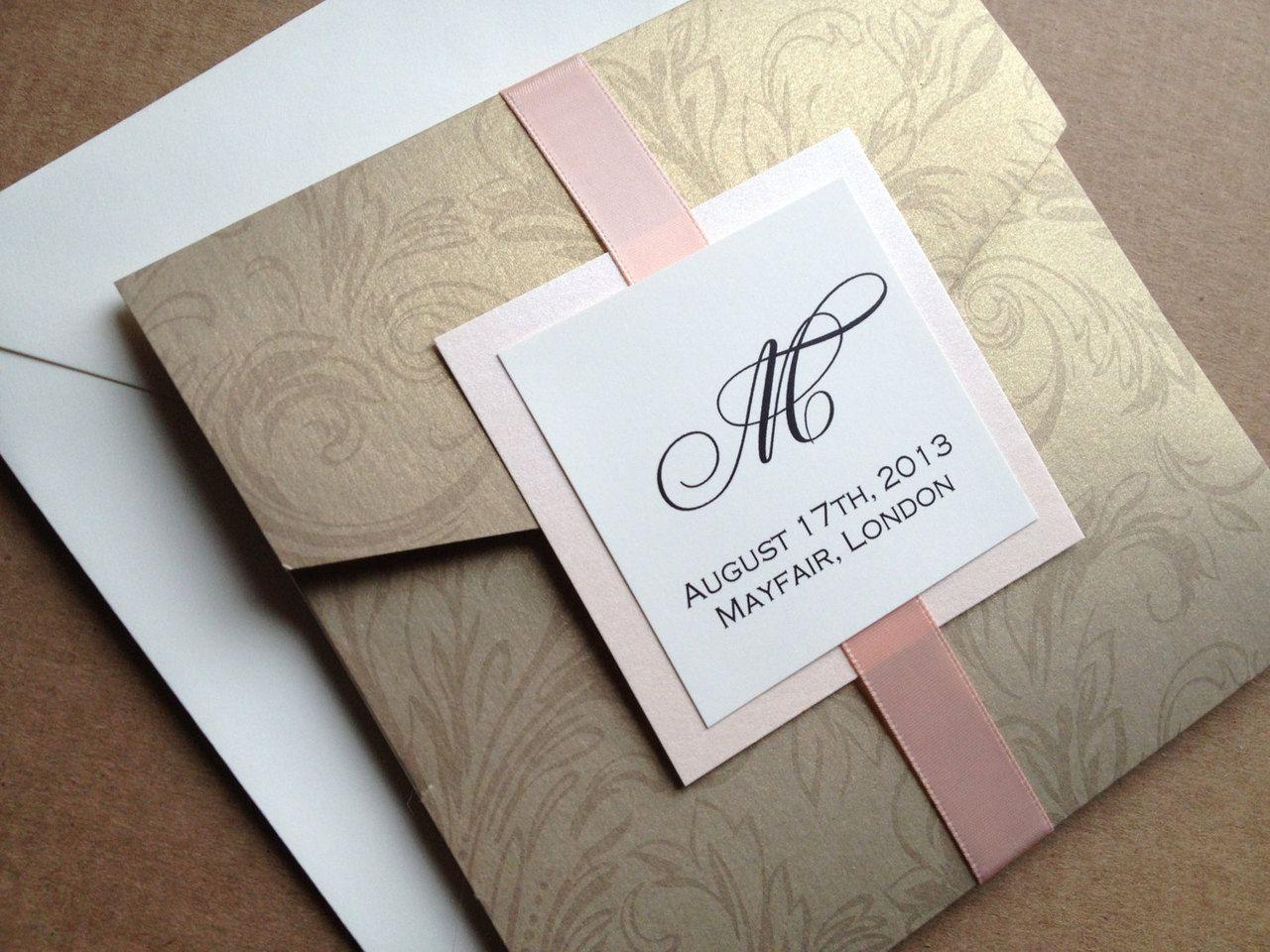 Gold Damask Pocket Wedding Invitation - Square, Floral, Elegant and ...
