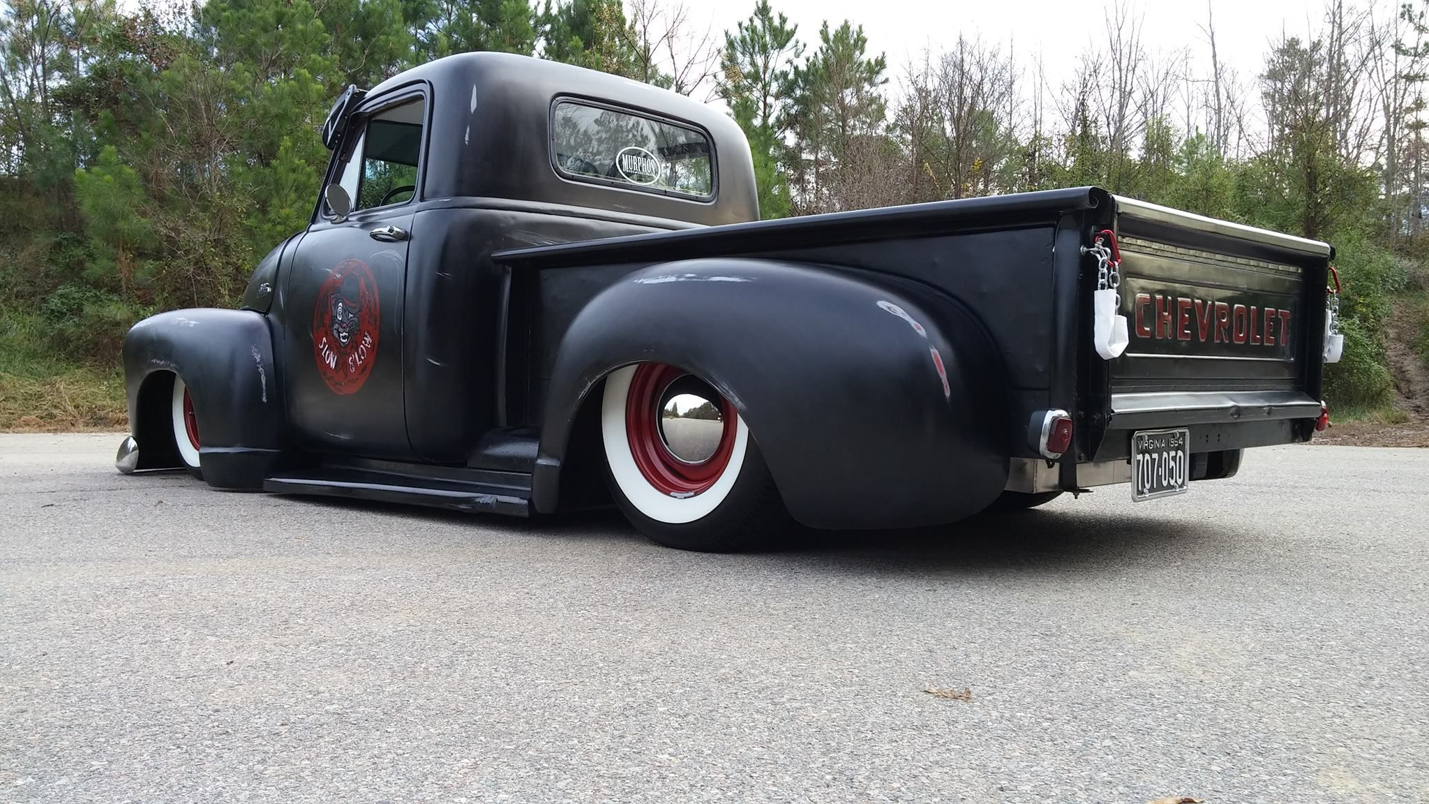 chev chevy chevrolet advance design pickup truck fauxtina faux tina patina satin black flat black paint with custom door graphics white wall tires on a set  [ 2048 x 1152 Pixel ]