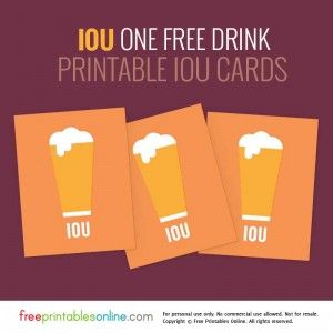 photo about Beer Coupons Printable identify A person Free of charge Consume IOU Coupon Effectively Printable V Freebies