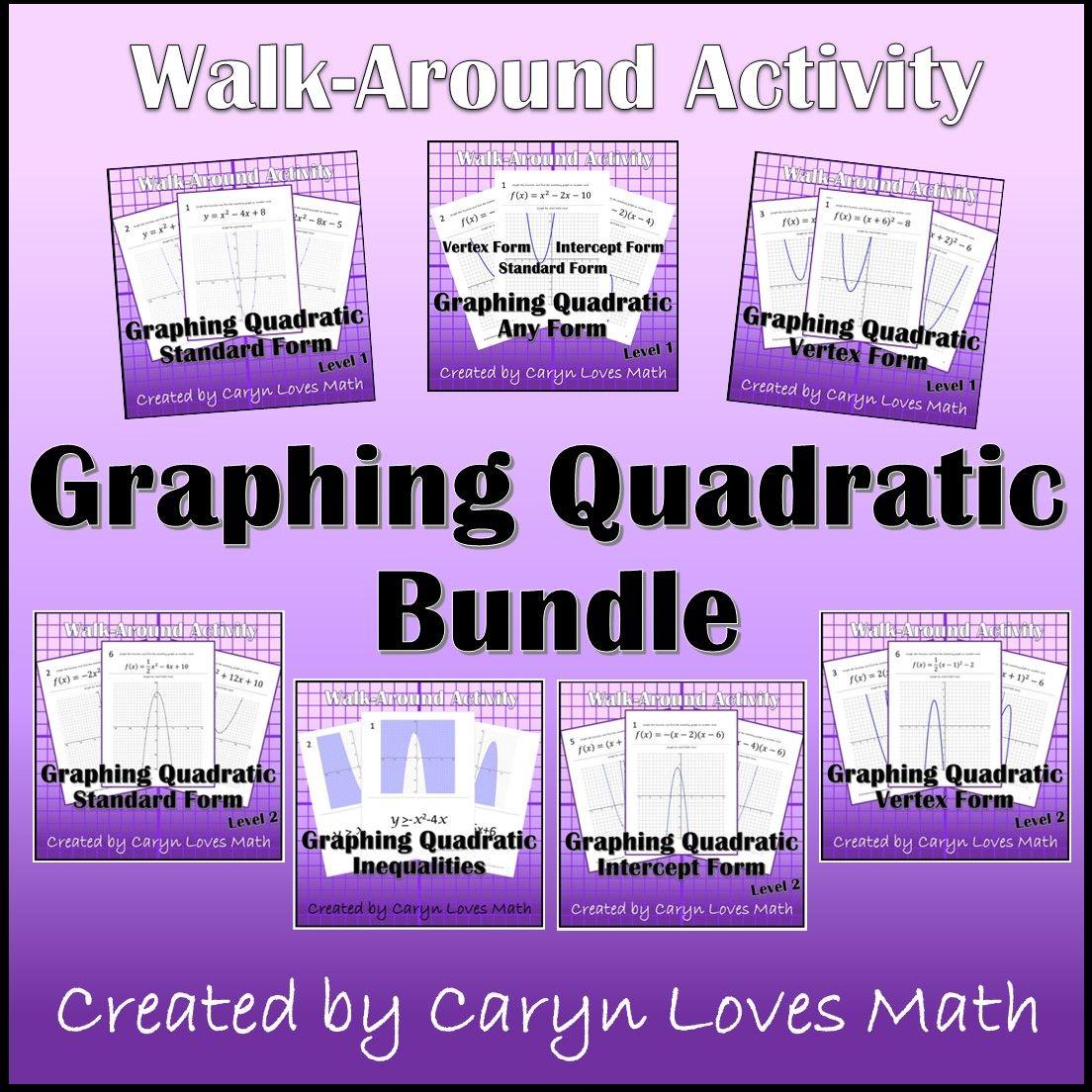 Graphing Quadratic Equation Bundle Standard Vertex Factor