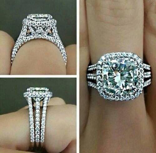 cushion cut halo style three shanks pave diamond ring. www.daniellevyjewelry.com