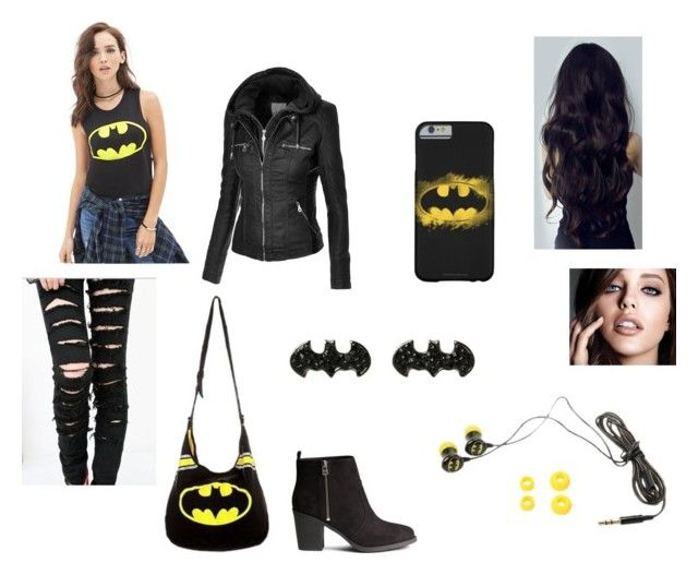 Batman theme outfit by alexaluc13 on Polyvore featuring polyvore, fashion, style, Forever 21, H&M, Maybelline and clothing