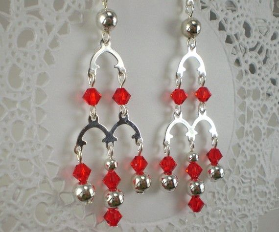 Red crystal chandelier earrings silver arch long by ajwforever red crystal chandelier earrings silver arch long by ajwforever aloadofball Choice Image
