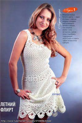 Crochet white dress ♥LCD-MRS♥ with diagram. ---  CARAMELO ARDIENTE es... LA PRINCESA DEL CROCHET: vestido crochet