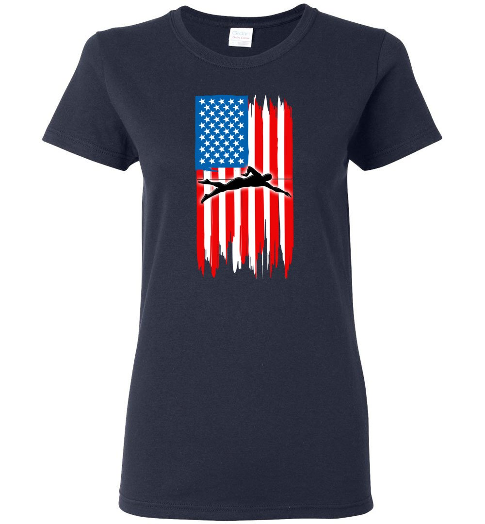 Swimming With American Flag - Ladies Short-Sleeve