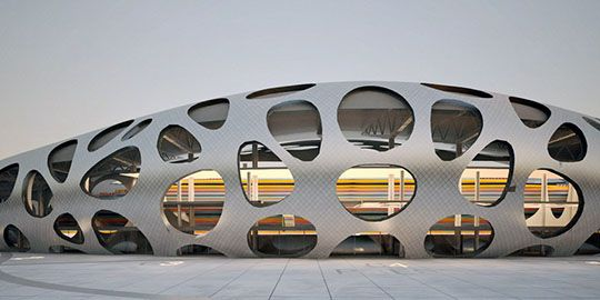 estrutura do Arena Borisov, altura máxima de 24 metros.   alumínio, betão polido e painéis envidraçados.
