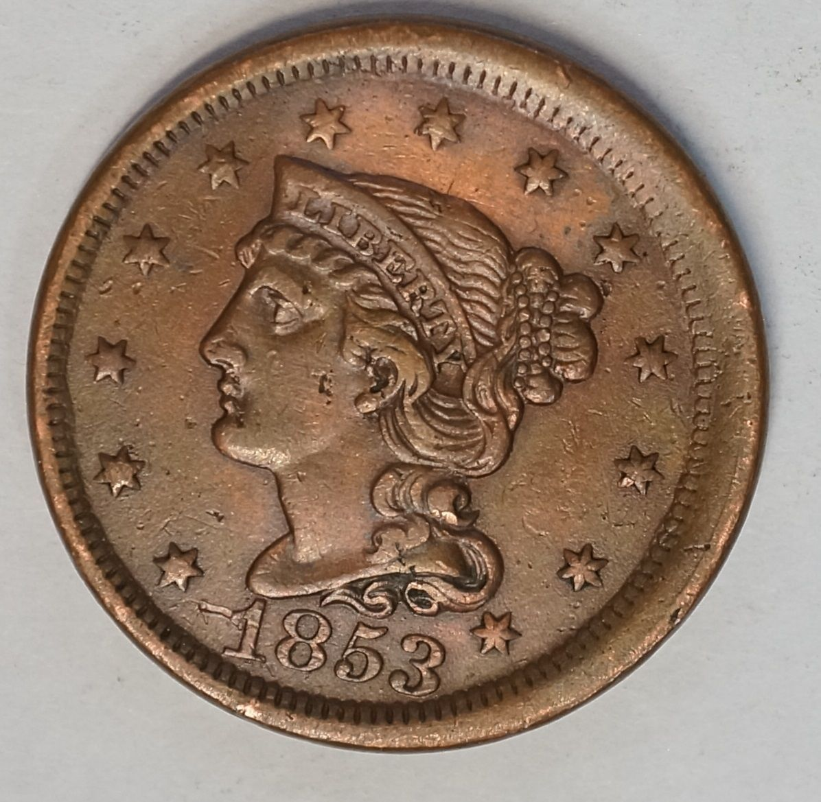 #error #errorcoins 1853 Large Cent AU Brilliant Luster Off