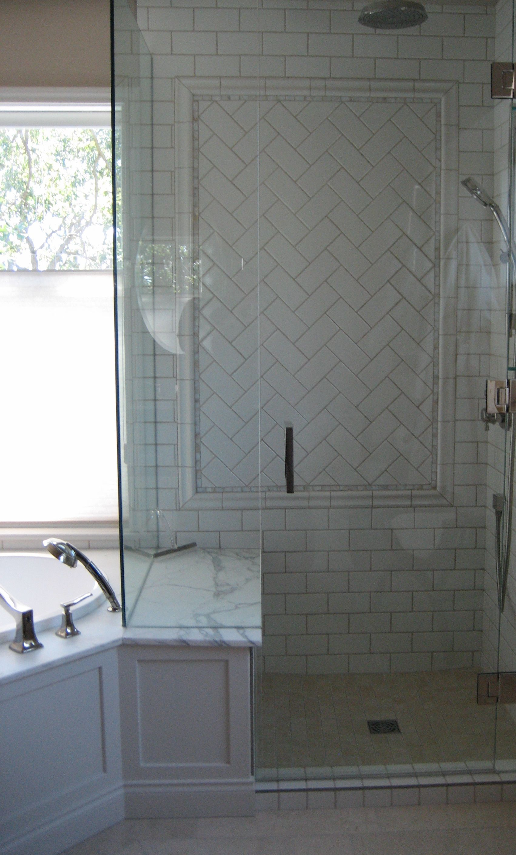 Bovard interiors bathrooms modern bathroom rubber ducky bathroom - Mother Of Pearl Details And Herringbone Inlay Bathroom