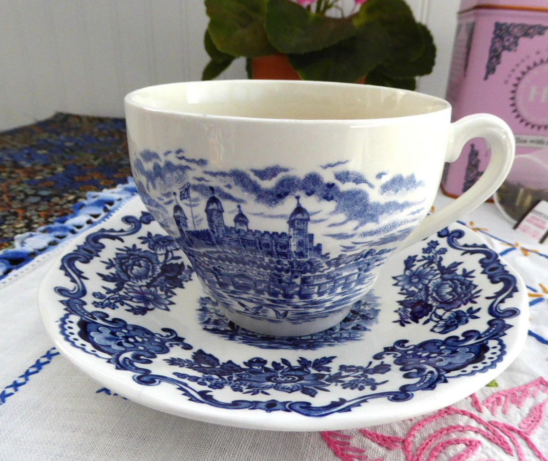 Royal Homes Of Britain Blue Transferware Cup And Saucer
