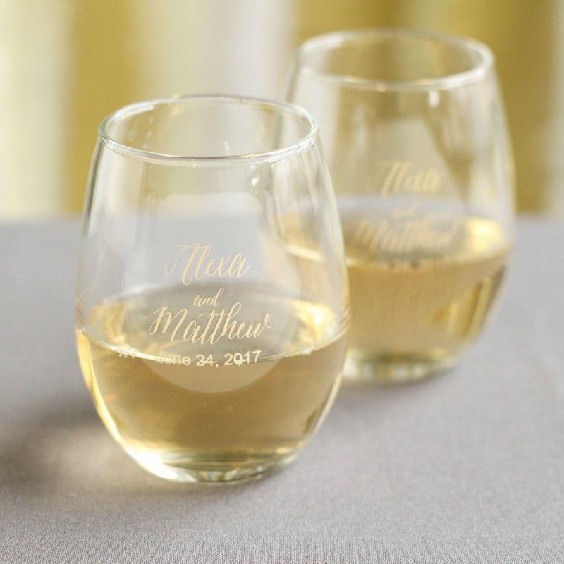 Personalized 9 Oz Stemless Wine Glass Wedding Favors Pinterest