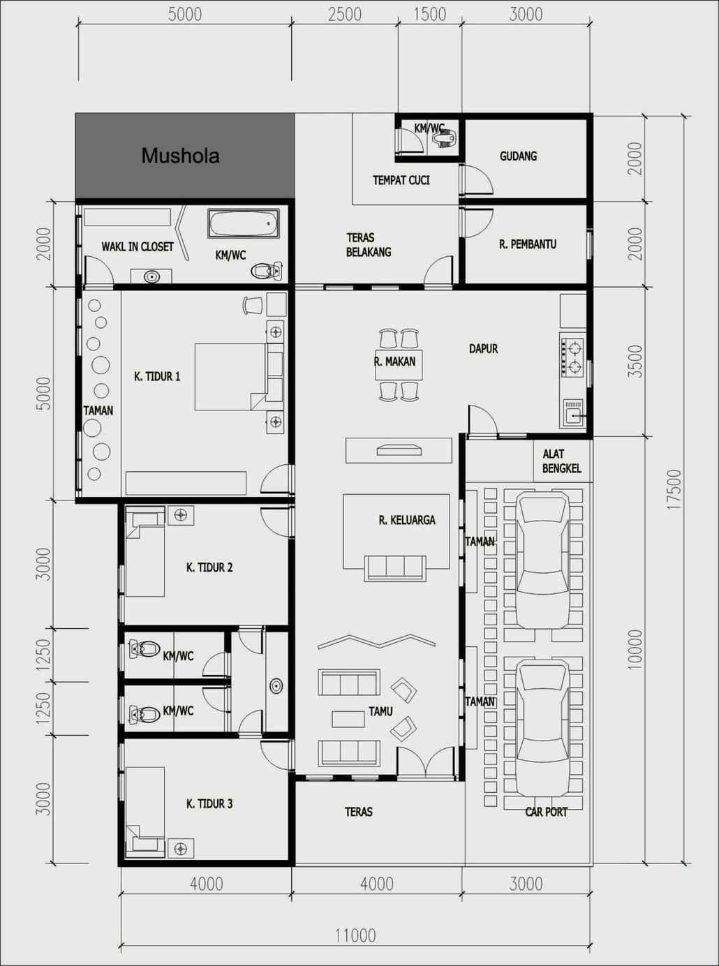 rumah 1 lantai 4 kamar tidur dan mushola