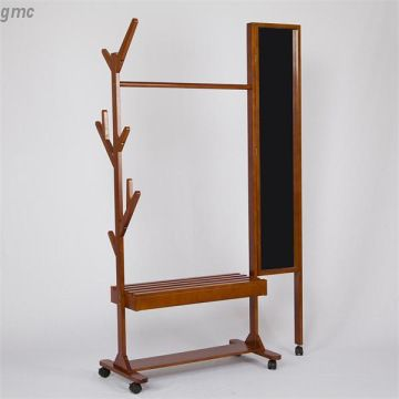Movable Wood Coat Rack Coat Stand With Dressing Mirror