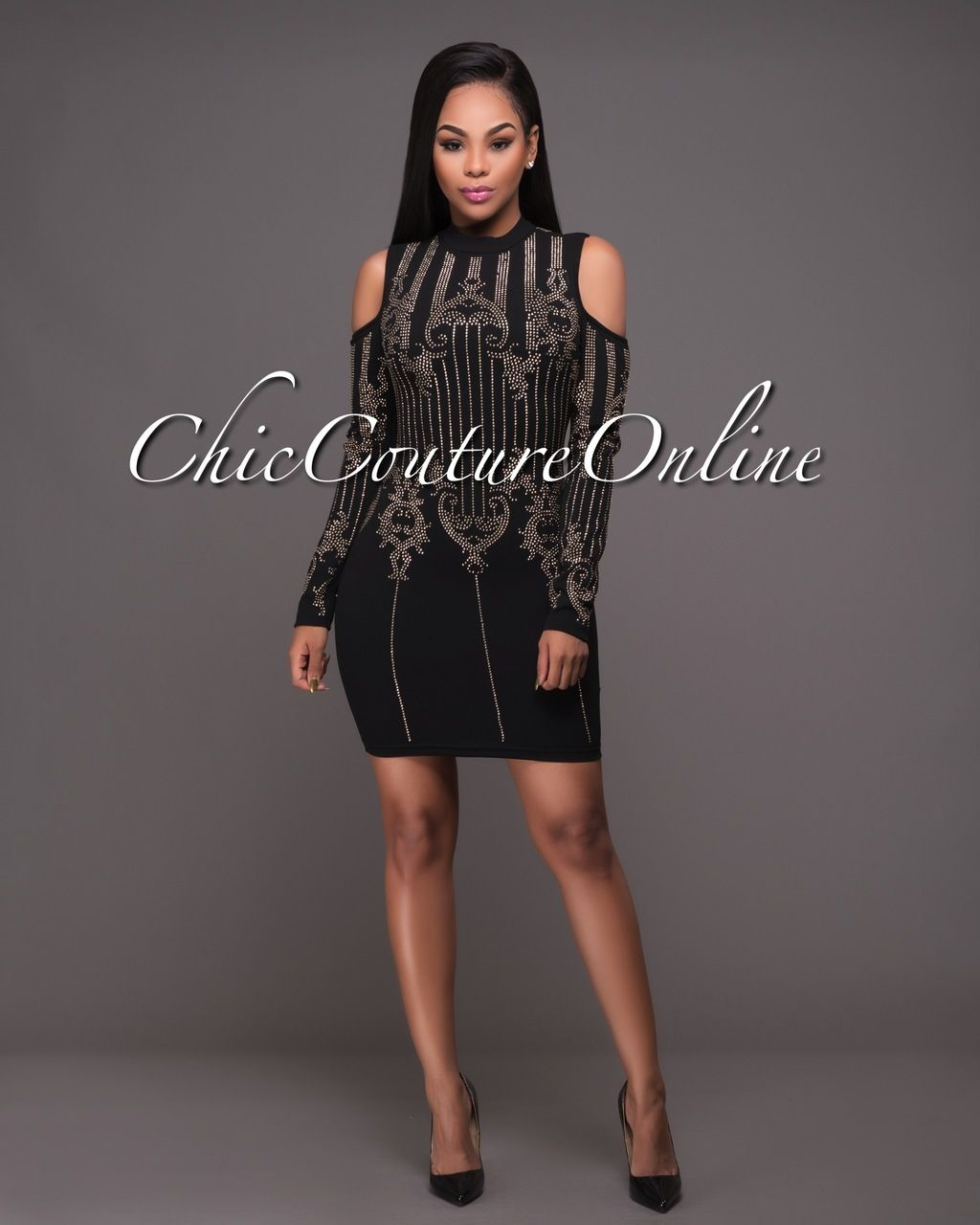 Chic couture online pembroke black gold studded long sleeves dress