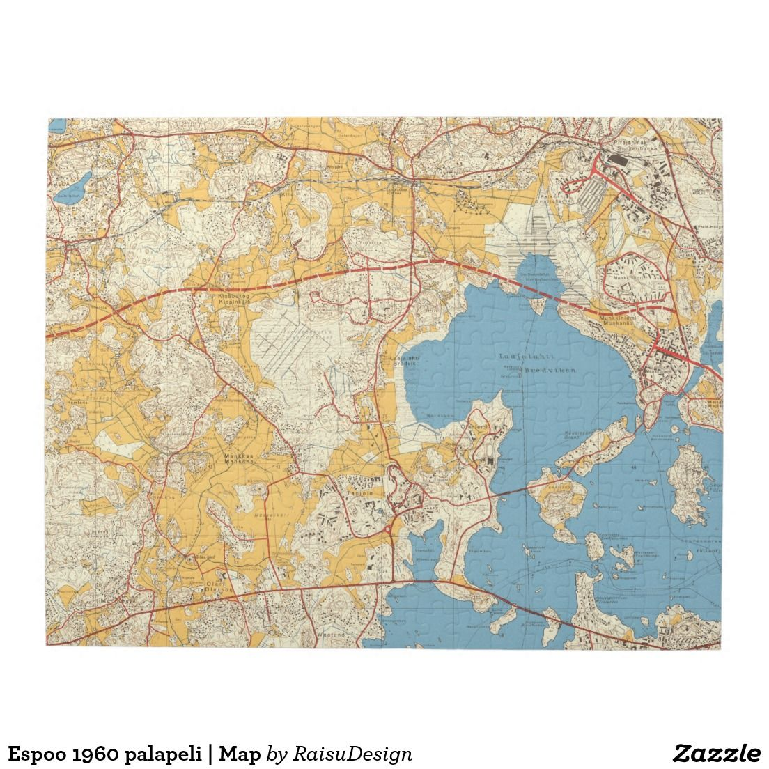 Espoo 1960 Palapeli Map Jigsaw Puzzle Zazzle Com Tyynyliinat