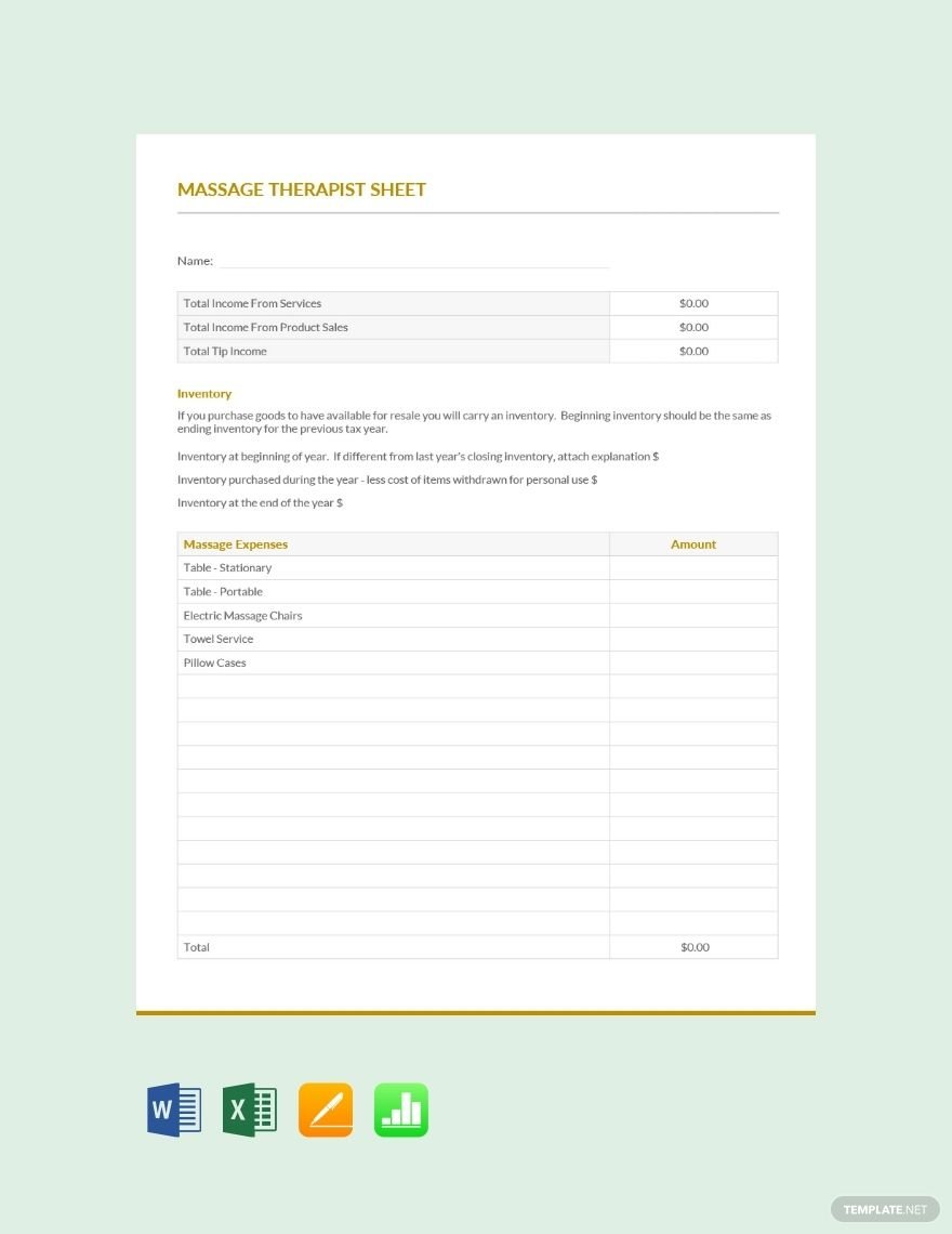 Massage Therapist Expense Sheet Template Word Excel Apple Pages Apple Numbers Bookkeeping Templates Expense Sheet Words