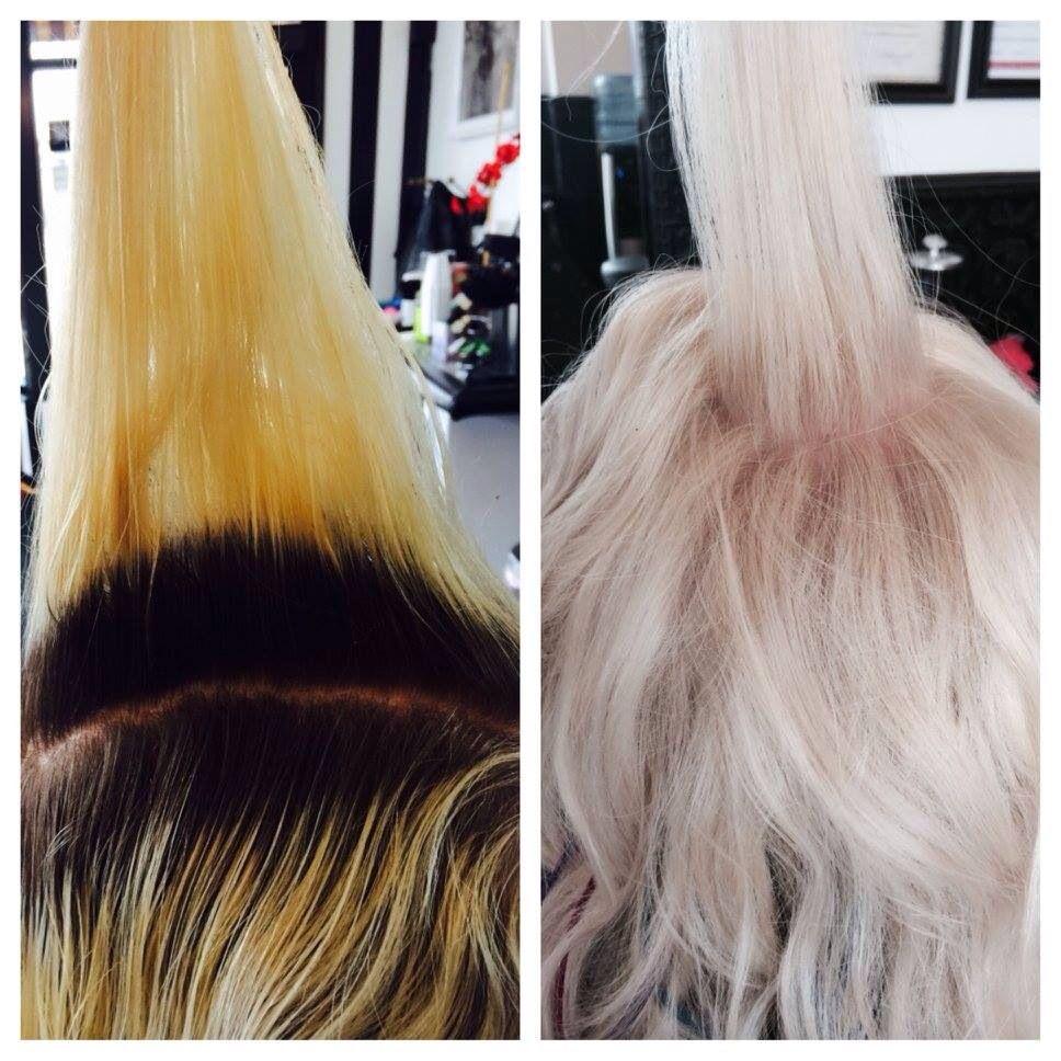#beforeandafter #hair #blonde #blondehair #platinumblonde