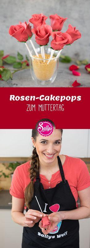 Fruchtige Cakepops dekoriert mit Modellierschokolade als dekorative Rose. #apfelrosenmuffins
