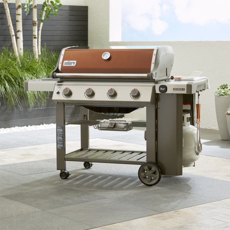 Shop Copper Weber Genesis Gas Grill Let The Four Burners Of This Top Performance Grill Take Charge Of Back Gas Grill Gas Barbecue Grill Outdoor Kitchen Design