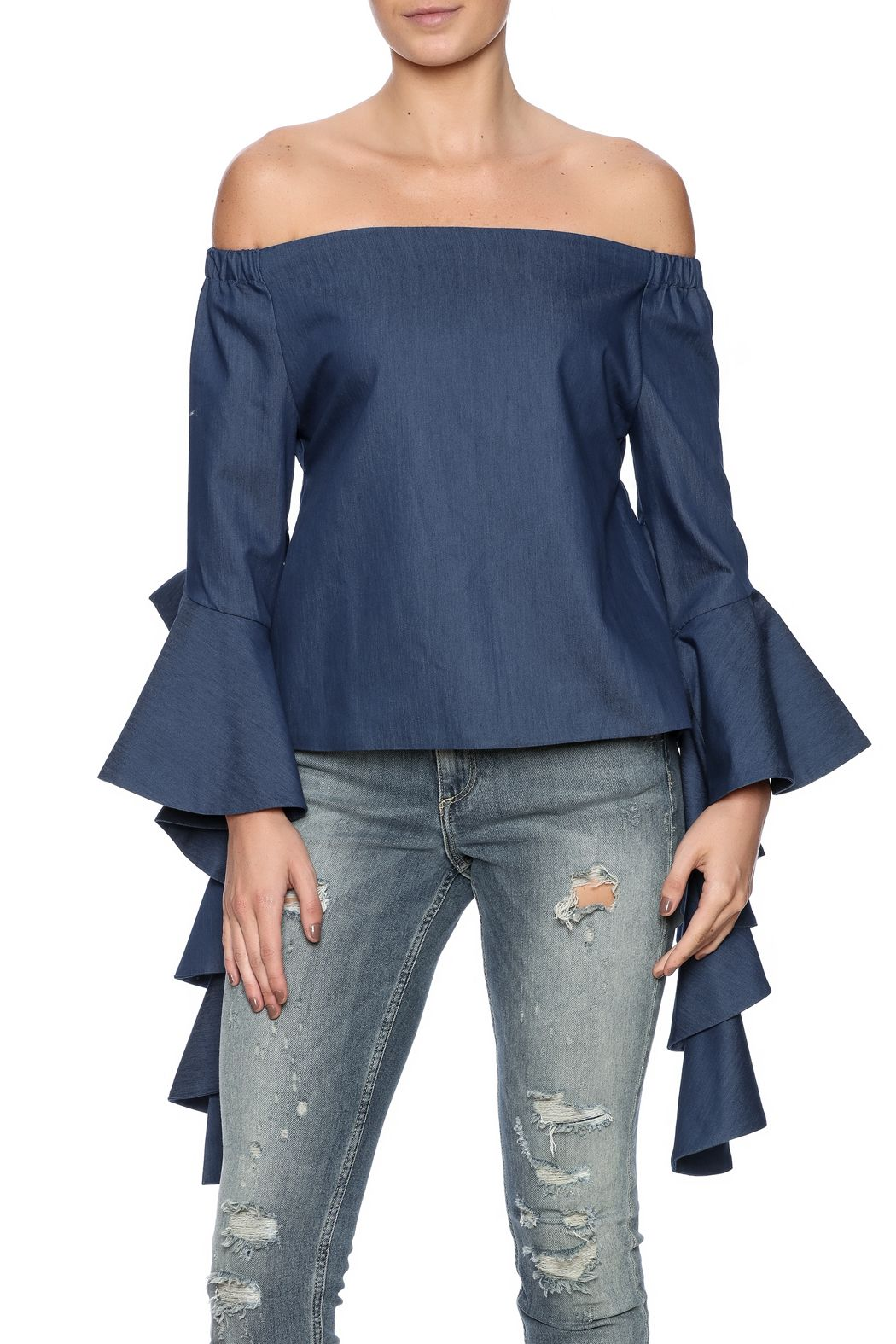 7ada0c715 Blue jean denim off-the-shoulder top with ruffle sleeve accents and an  elastic bust. Ruffle Denim Top by Gracia. Clothing - Tops - Blouses & Shirts  Clothing ...