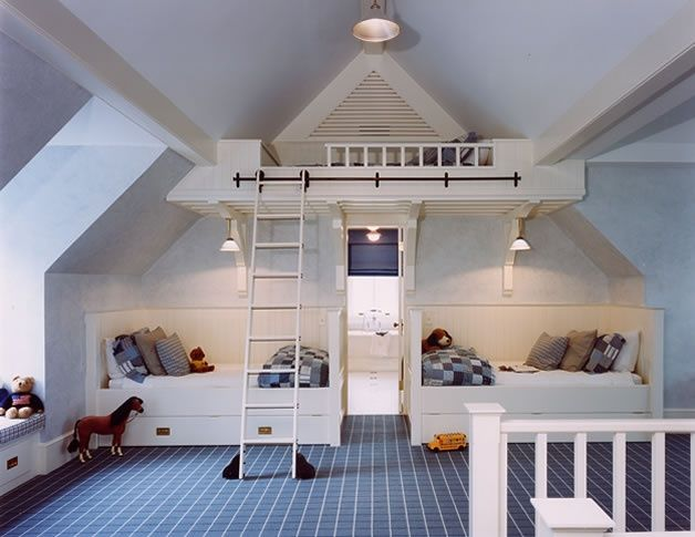 items that can fit under a low, angled ceiling: a bed, shower