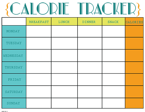 image about Meal Tracker Printable identified as Printable Calorie Tracker Chart absolutely free printable calorie