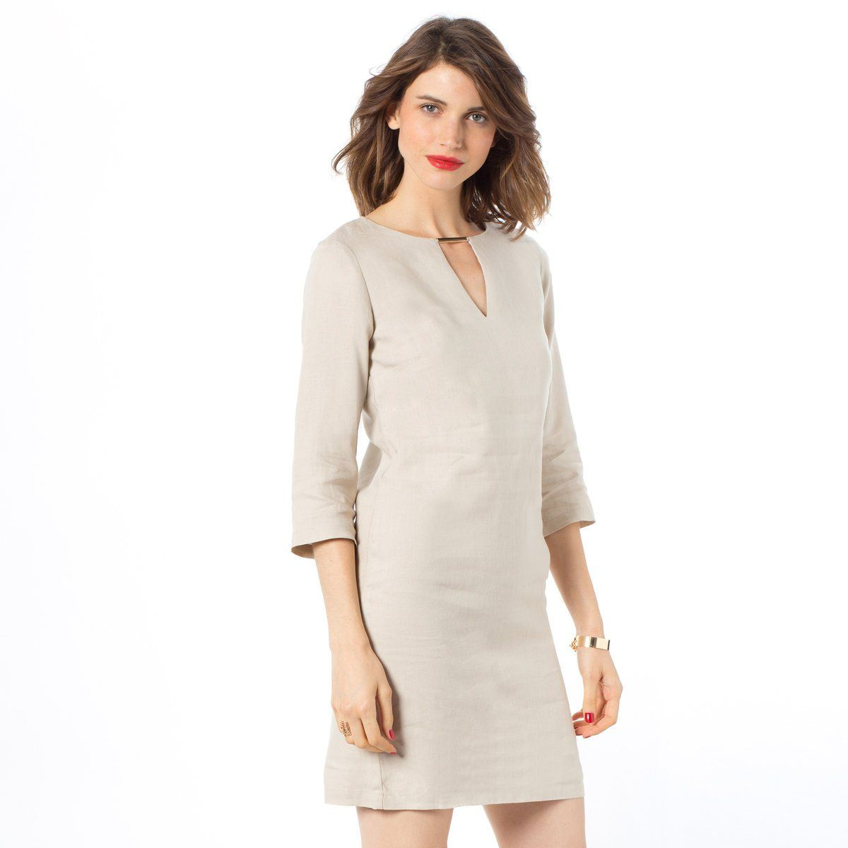 Redoute Essentiel Vestido de lino La con 34 España R mangas recto Ax6wqTz61