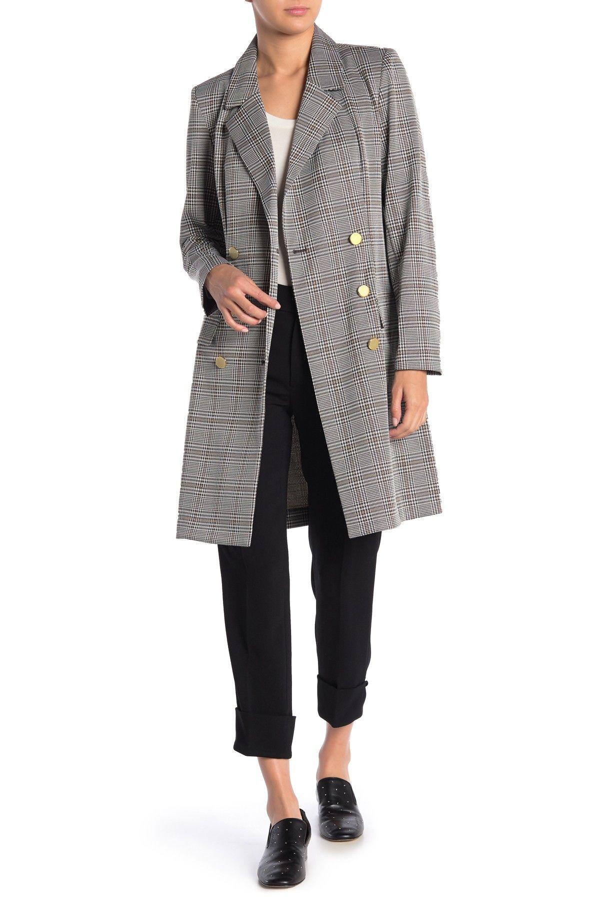 Nanette Lepore | Plaid Double Breasted Coat #nordstromrack