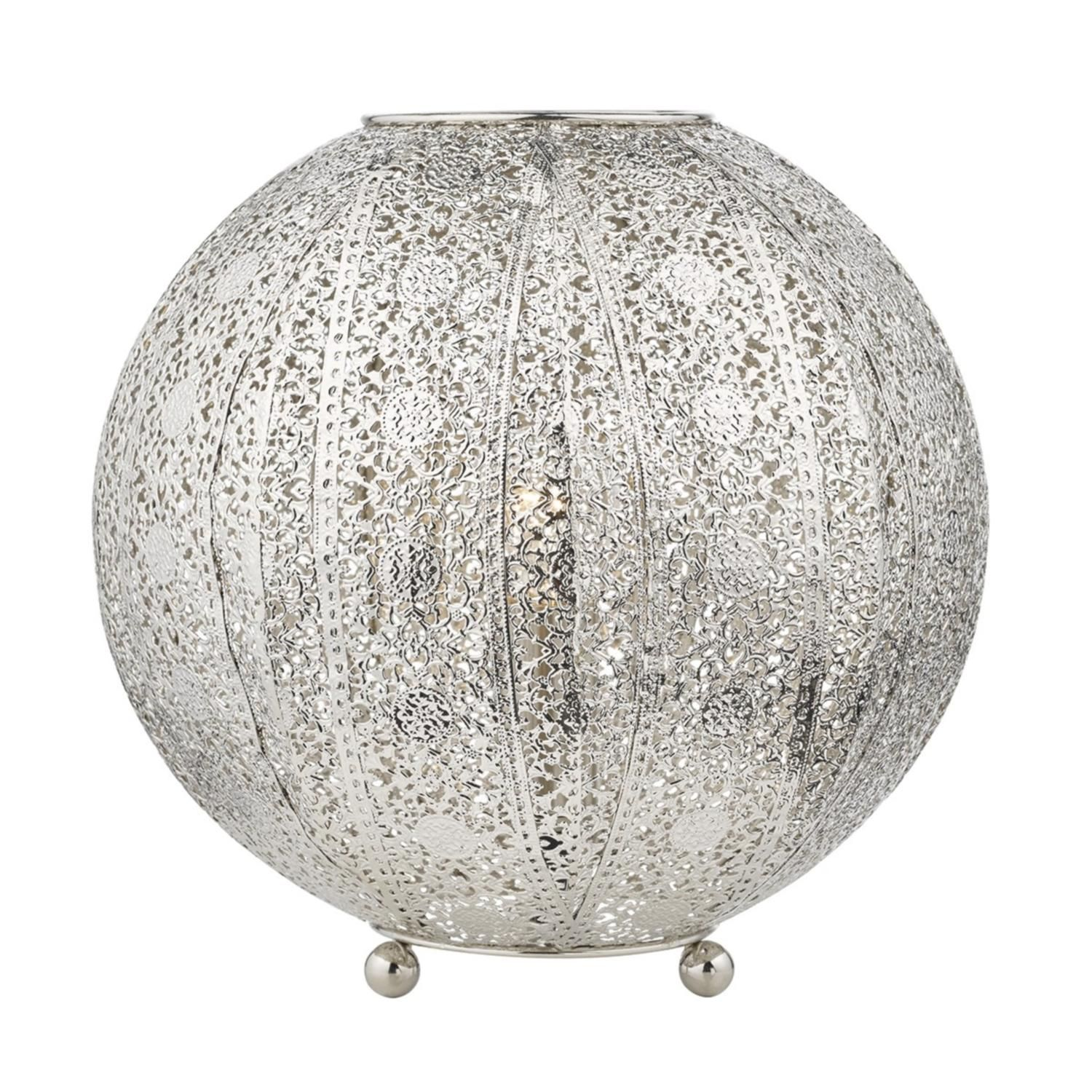 Baz4032 Antique Silver Filagree Globe Table Lamp The Lighting  # Meuble Design Zein Chloe