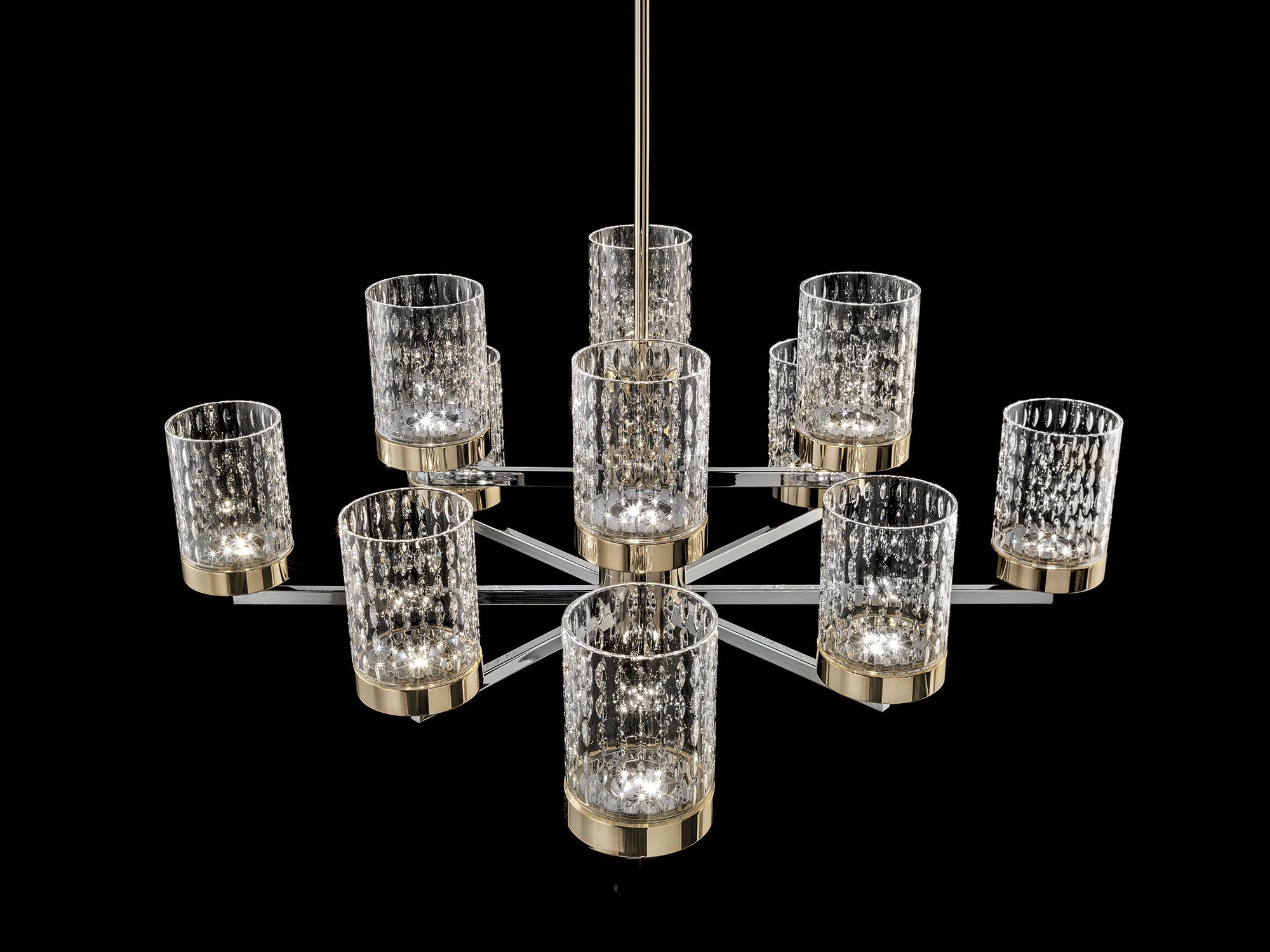 Quarzo chandelier in chrome and light gold metal structure with
