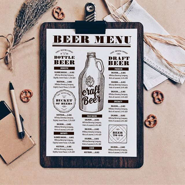 New menu template for Beer Bar Love this menu design? You can find