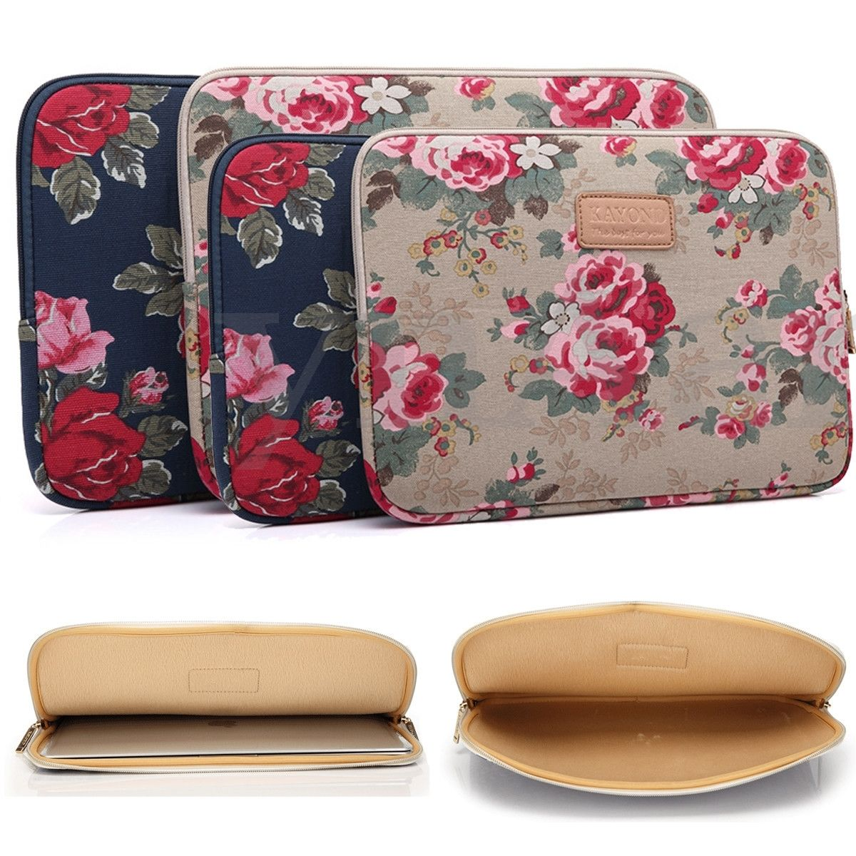 Notebook Peony Canvas Sleeve Case Bag Pouch For 13 15 Macbook Air Pro Laptop Cute Laptop Cases Bags Laptop Sleeves