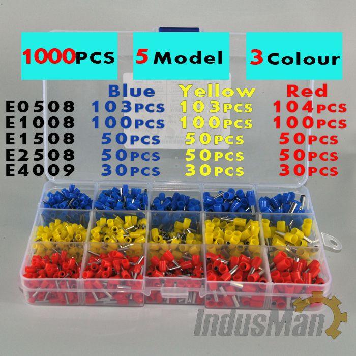 1000pcs/lot Bootlace cooper Ferrules kit set Wire Copper Crimp ...