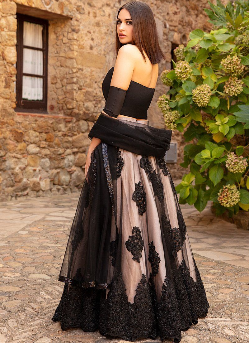 649cf367de2 love this black net lehenga with off shoulder lehenga blouse. Click on  picture to see price.  Frugal2Fab