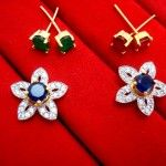6 in 1 Cute Flower Changeable Studded Zircon Earrings for Women for Rakhi Gift - BLUE