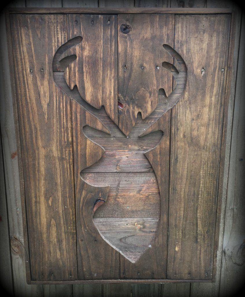 Large Pallet Wood Deer Silhouette Wall Hanging - Rustic