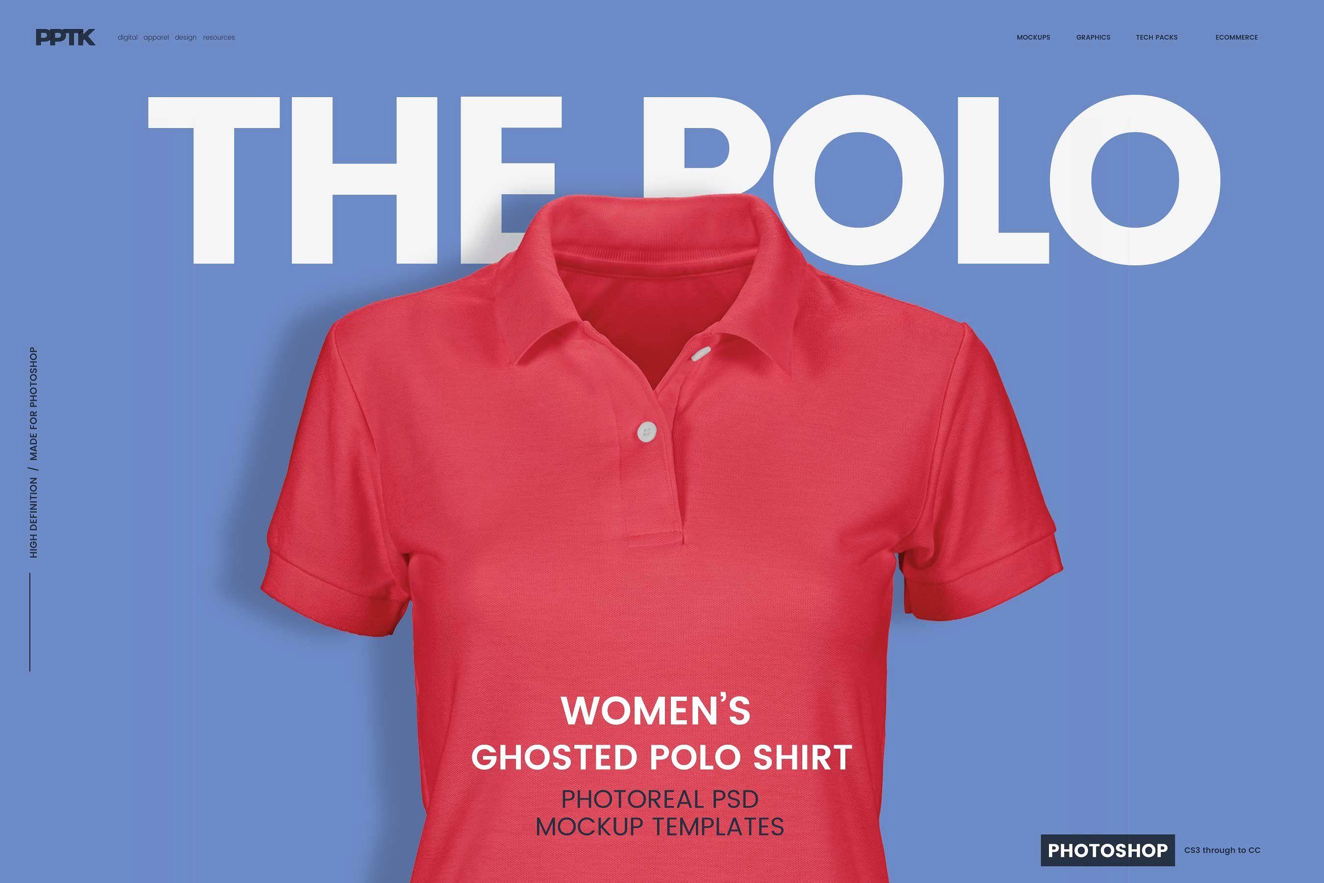 Polo T Shirt Mockup Front And Back Psd Free Womens Ghosted Polo Shirt Templates Shirt Template Photoshop Mockup Mockup