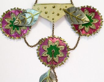 Handmade necklace Recycled vintage tin by CellarDoorShoppe