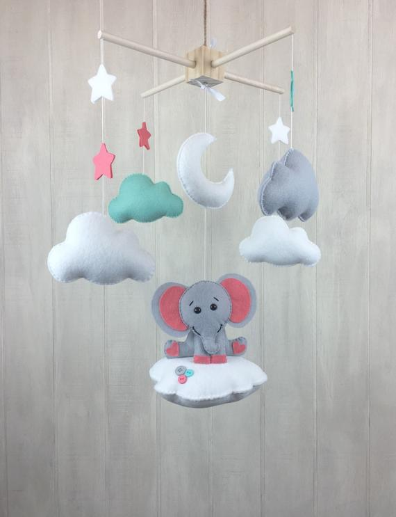 Elephant mobile - baby mobile - baby crib mobile - cloud mobile - star mobile - baby mobiles - eleph
