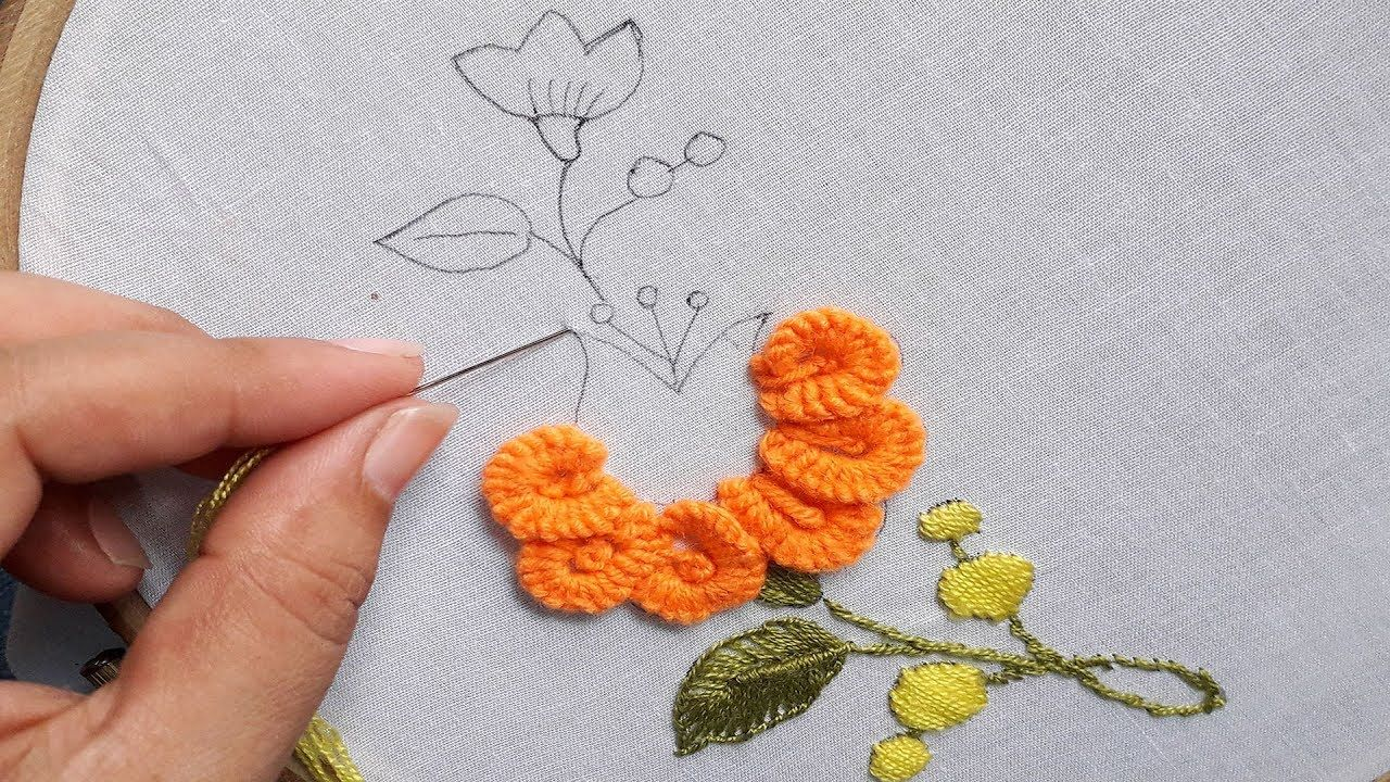 Hand Embroidery, Very Easy Flower Embroidery Tutorial, Simple ...