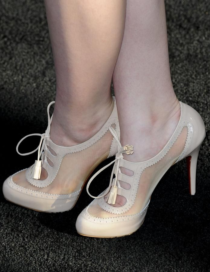 """4c2a107a68fd Joey King wearing nude Christian Louboutin """"Mamimo Rete"""" ankle booties"""