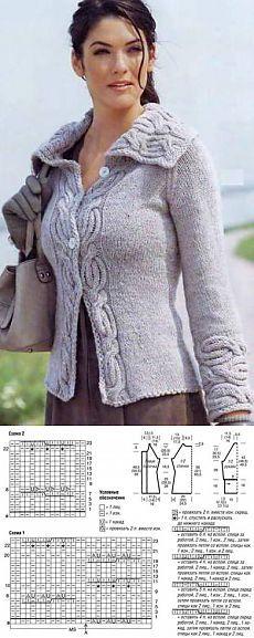 Жакет реглан с планками из кос – Мир вязания и рукоделия