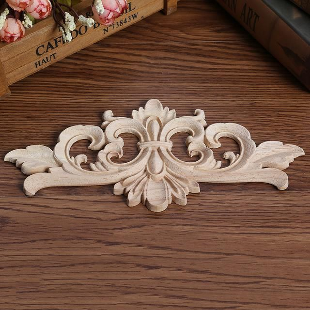 European Vintage Applique Furniture Craft Decor Onlay Carved Door Painting New