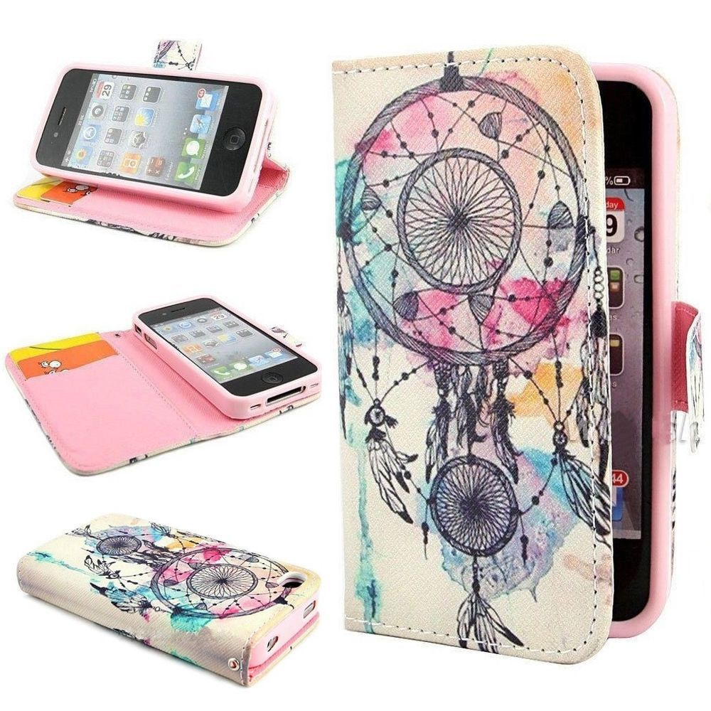 Dream catcher wallet leather card stand flip cover case