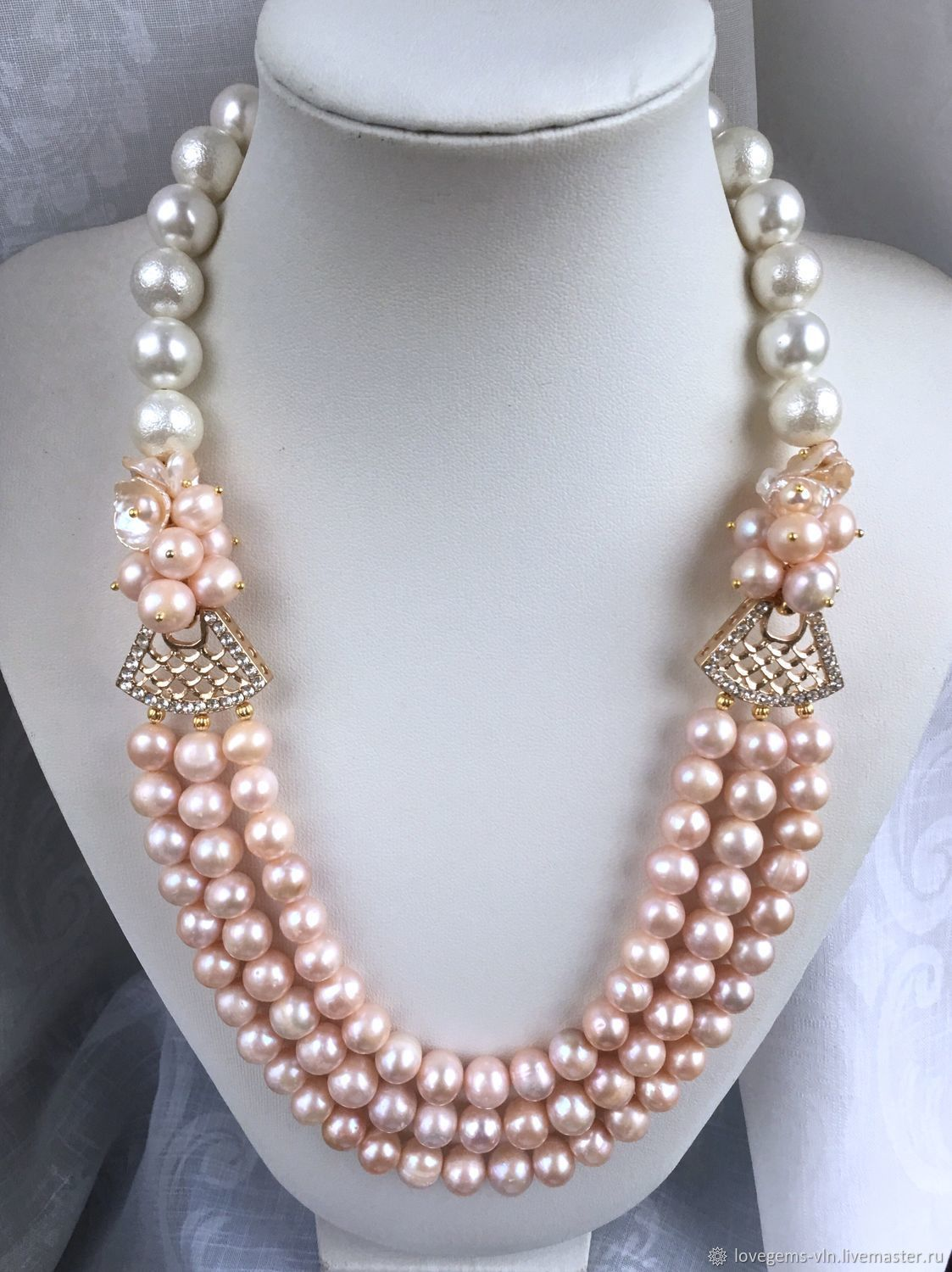 """3 Ring Charming Jewelry freshwater pearl and jade necklace 17-19 /"""""""
